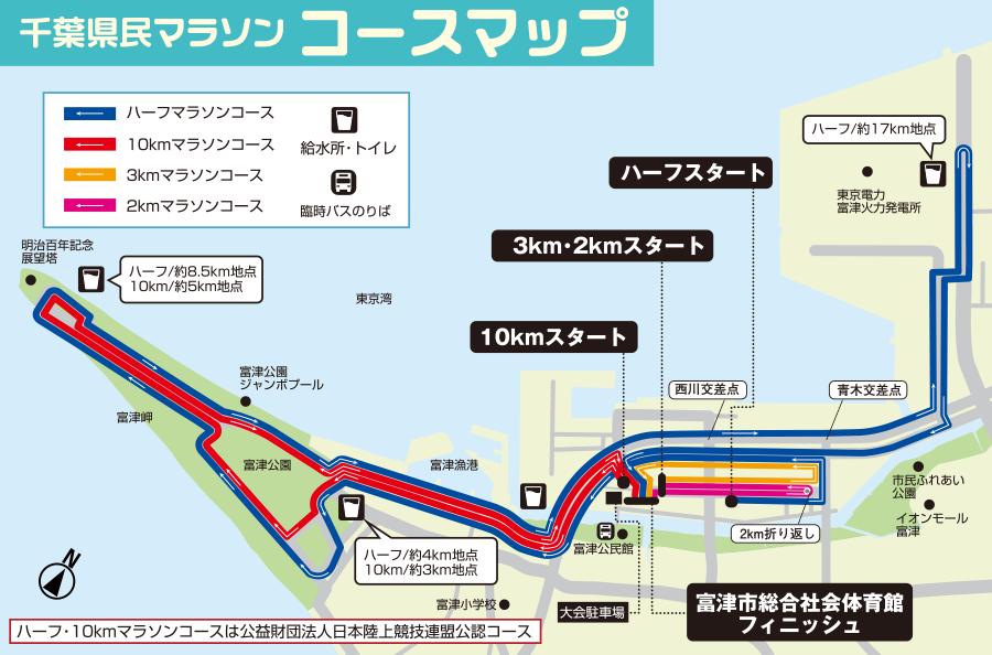 千葉県民マラソンコースマップ
