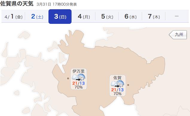 佐賀県の天気