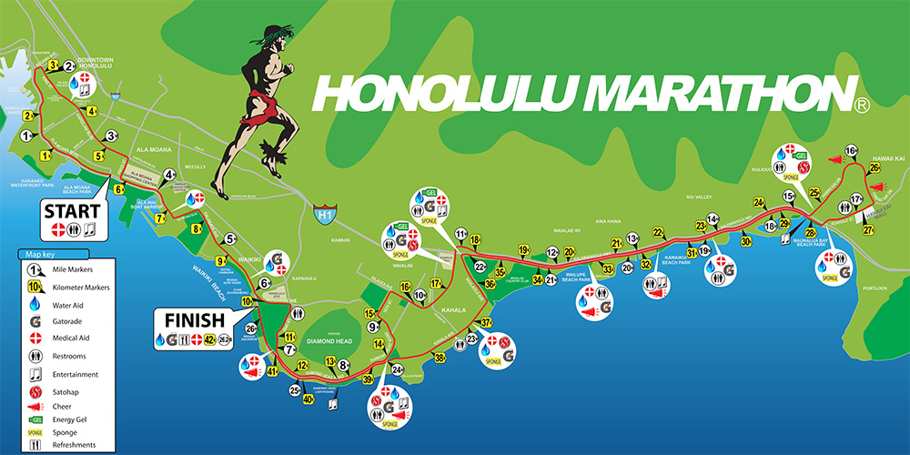 ホノルルマラソンコース図