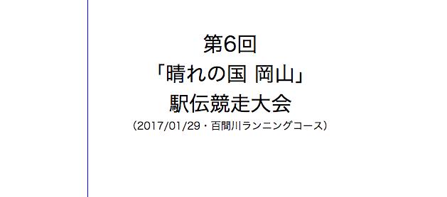 晴れの国 岡山駅伝 2017 オーダー・エントリーリスト