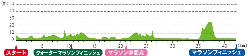 神戸マラソン高低図