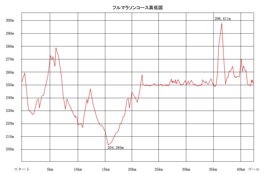 フルマラソン高低図