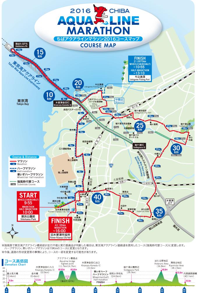 ちばアクアラインマラソン2016coursemap